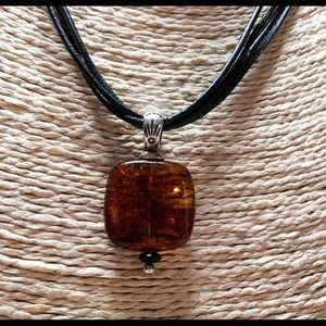 SILPADA AMBER BLACK LEATHER STERLING 925 NECKLACE
